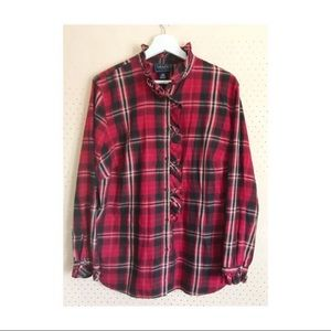 Chaps Red Plaid Button-Down With Ruffled Collar